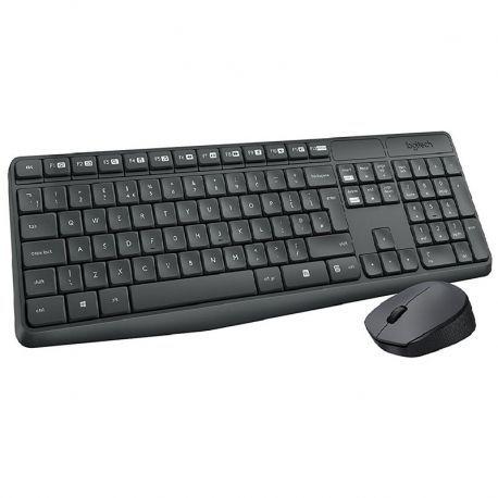 Teclado y Mouse Logitech MK235 Anti Agua USB Negro