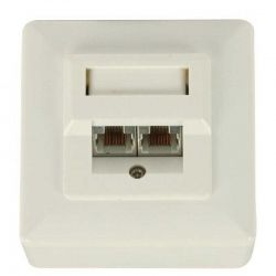 Placa de Pared NEWLINK NEW-4000045 2p Blanca RJ45