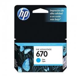 Cartucho Tinta HP 670 Cian Original 300 Pag