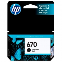 Cartucho de Tinta HP 670 Negro Original 14ml 250 P