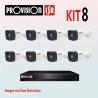 Kit Provision Básico 1 DVR 8CH 8 Cámaras AHD 1080p
