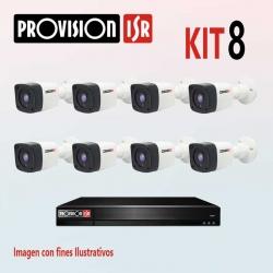 Kit Provision Básico 1 DVR 8CH 8 Cámaras AHD 720p