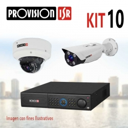 Kit Provision Emp 1 DVR 16CH 10 Cámaras AHD 720p