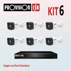 Kit Provision Básico 1 DVR 8CH 6 Cámaras AHD 720p