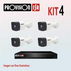 Kit Provision Básico 1 DVR 4CH 4 Cámaras AHD 720p