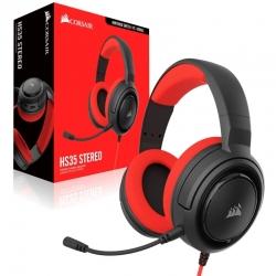 Audífonos Gaming Corsair Hs35 Stereo 3,5mm rojo
