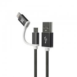 Cable 2 en 1 Klip Xtreme KAC-210BK USB Apple 1m