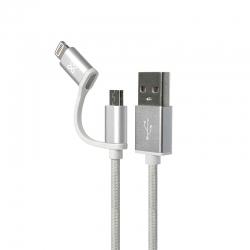 Cable 2en1 Klip Xtreme KAC-210BK USB Apple-Silver