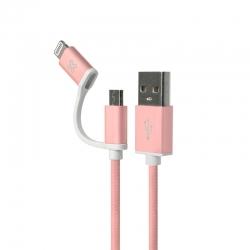 Cable 2en1 Klip Xtreme KAC-210BK USB Apple Rose