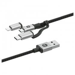Cable De Carga Mophie Usb-C USB-A micro USB 1Mts