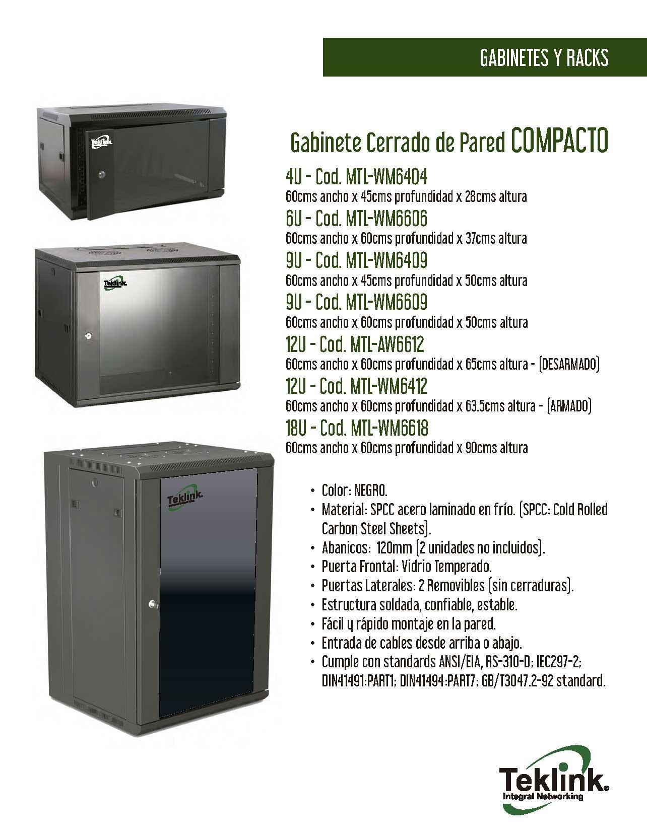 Gabinete TekLink 18U Compacto